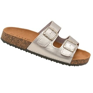 Anna Adult Silver Glossy Shiny Buckled Straps Cork Slipper Sandals