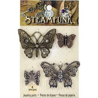 Solid Oak STEAM011 Steampunk Metal Accents - Butterflies