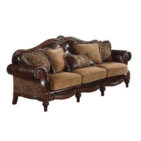 ACME Dreena Sofa w/5 Pillows, PU & Chenille
