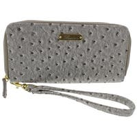 Buxton Womens Ostrich Brights Wristlet Wallet Faux Leather Zip Around - o/s