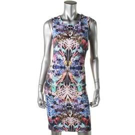 Artelier Nicole Miller Womens Printed Keyhole Party Dress