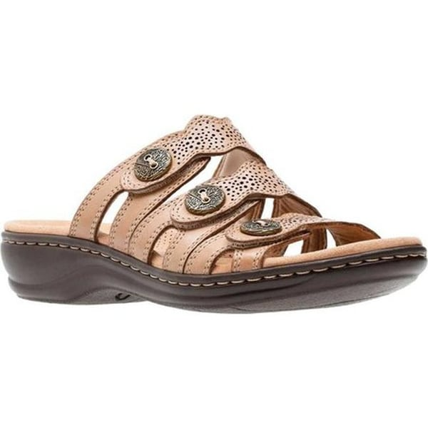 75f007a15a52 Clarks Women  x27 s Leisa Grace Strappy Slide Sand Full Grain Leather