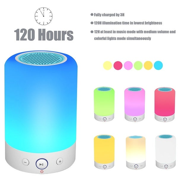 Kanstar Bluetooth Speakers Wireless Stereo Subwoofer Smart Touch Lamp Color Changing