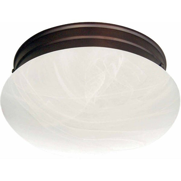 "Volume Lighting V7788 2 Light 9"" Flush Mount Ceiling Fixture with White Alabaste"