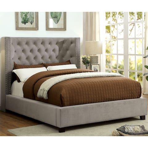Furniture of America Tail Contemporary Fabric Tufted Wingback Bed