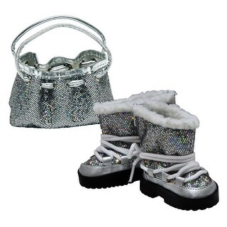 Silver Glitter Designer Shoulder Handbag Purse Sized to Fit 18 Inch American Girl Doll Clothes & Accessories
