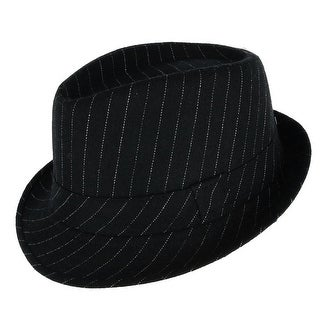 Westend Men's Pinstriped Trilby Fedora Hat with Matching Band