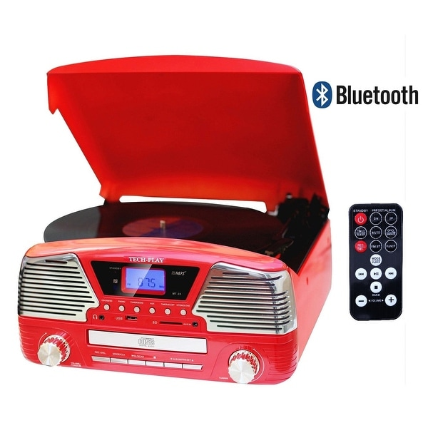 TechPlay ODC35BT RED. With Bluetooth, 3 Speed Turntable Programm