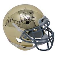 Raghib Rocket Ismail Signed Notre Dame Chrome Mini Helmet JSA ITP