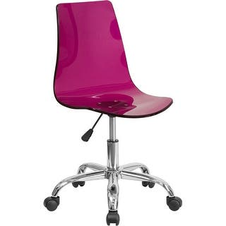 Bridgettine Mid-Back Transparent Purple Acrylic Swivel Home/Office Task Chair|https://ak1.ostkcdn.com/images/products/is/images/direct/32b32cc27706d4013769482e24b601216e60544c/Medieval-Selection-Transparent-Purple-Acrylic-Swivel-Home-Office-Task-Chair-w-Chrome-Base.jpg?impolicy=medium