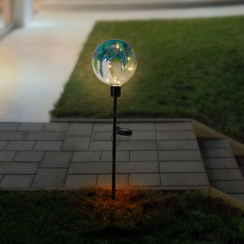 Alpine 33-Inch Outdoor Solar Globe Garden Stake with LED Lights, Multicolor