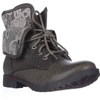 Rock & Candy Spraypaint Foldover Ankle Boots, Gray Lace