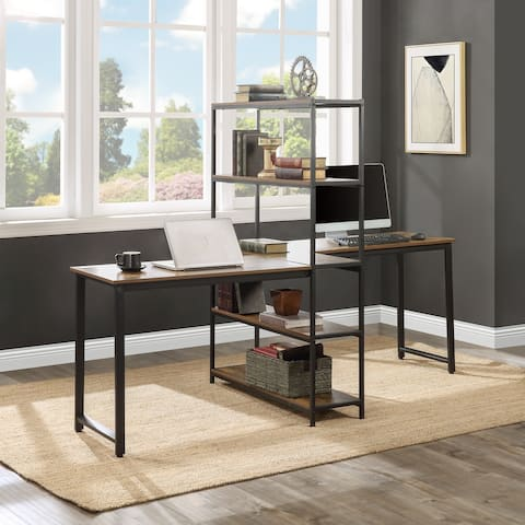 Nestfair Brown Extra Large Double Workstations Office Desk with Storage Shelves