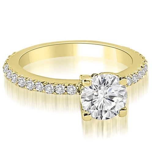 1.11 cttw. 14K Yellow Gold Round Cut Diamond Engagement Ring