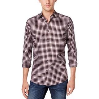 Michael Kors Mens Button-Down Shirt Plaid Long Sleeves