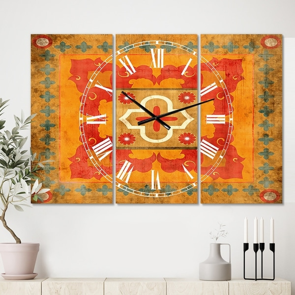 Designart 'Moroccan Orange Tiles Collage II' Cottage 3 Panels Oversized Wall CLock - 36 in. wide x 28 in. high - 3 panels. Opens flyout.