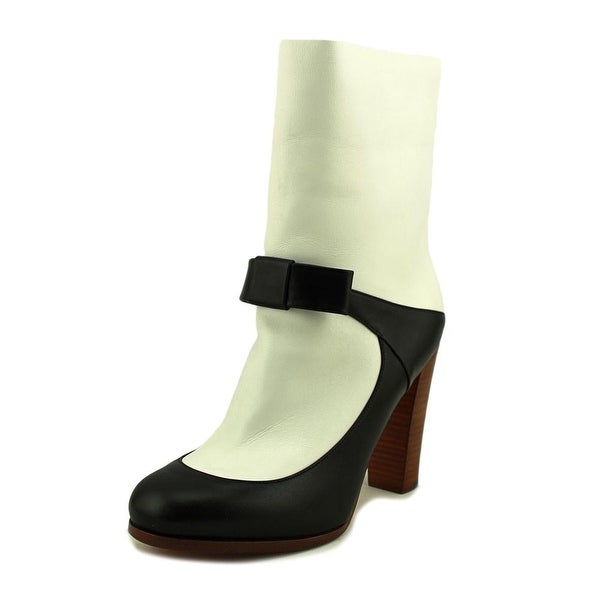 Celine Ilaria Women Round Toe Leather White Mid Calf Boot