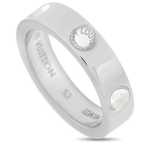 Louis Vuitton White Gold Band Ring Size 6.5