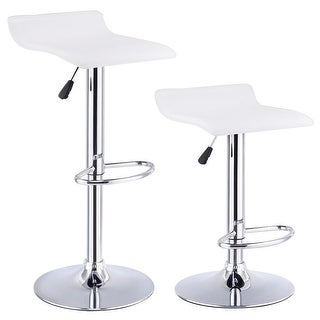 Costway Set of 2 Swivel Bar Stool Adjustable PU Leather Backless Dining Chair White