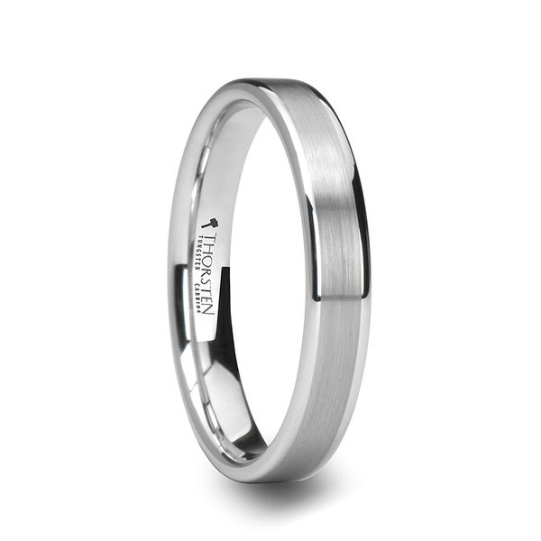 THORSTEN - MONET Women's Flat Brushed Center White Tungsten Wedding Band - 4mm