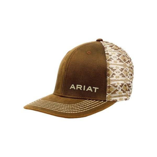2629a871f Ariat Western Hat Mens Oilskin Snapback Stitching Aztec Brown