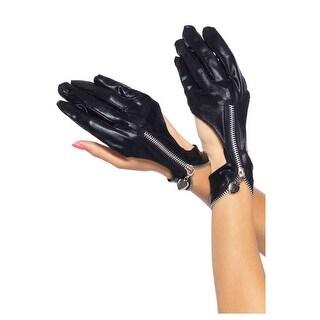 Wet Look Zipper Motorcycle Gloves