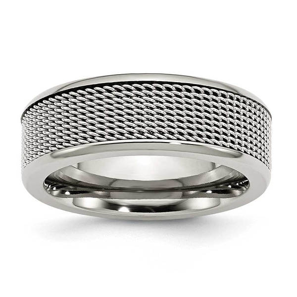 Chisel Stainless Steel Base with Steel Mesh Center 8mm Band