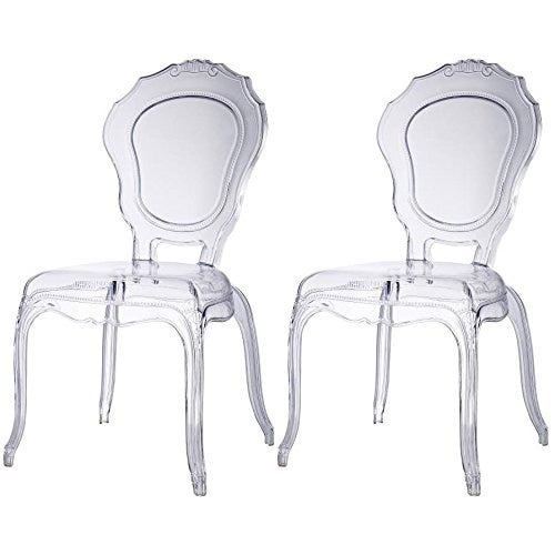 2xhome Set Of Two 2 Clear Belle Ghost Chair Clear