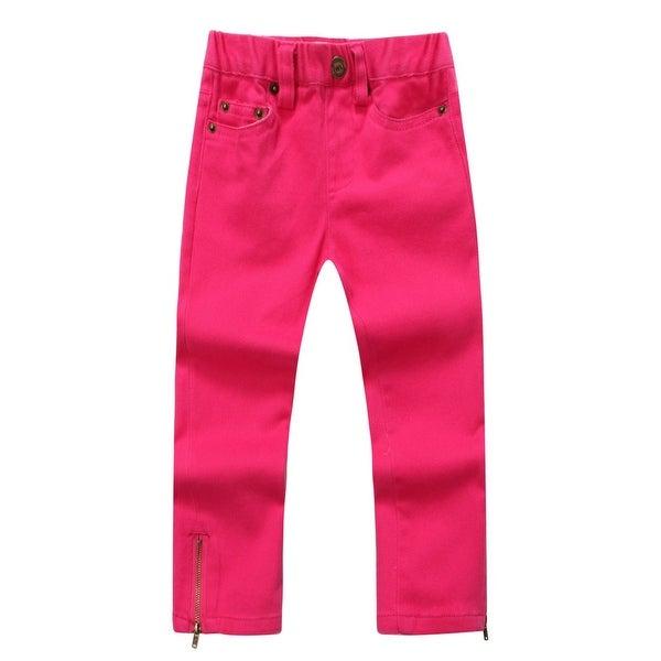 Richie House Baby Girls Magenta Zipper Denim Pants 24M