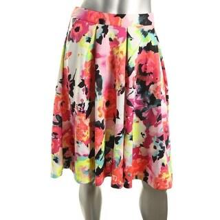 Aqua Womens Matte Jersey Floral Print Pleated Skirt
