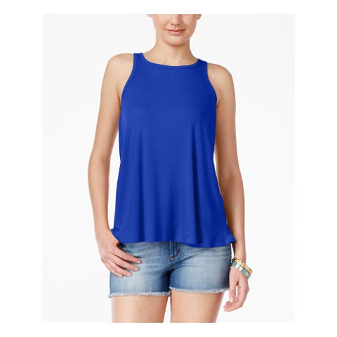 PLANET GOLD Womens Blue Sleeveless Jewel Neck Top Size: L