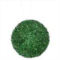 Emerald Green Sequin And Glitter Drenched Christmas Ball