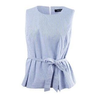 Nine West Women's Plus Size Seersucker Tie Front Blouse - NAVY/WHITE