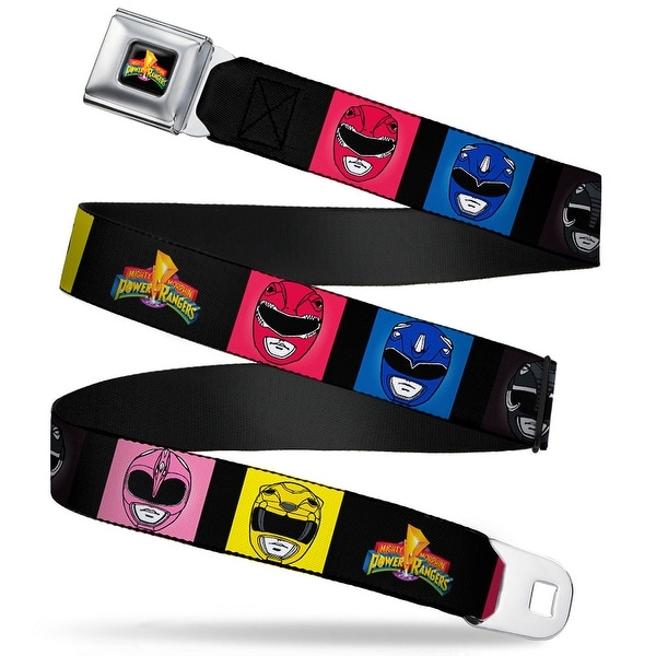 Power Rangers Logo Full Color Power Rangers Face Blocks2 Mighty Morphin Seatbelt Belt