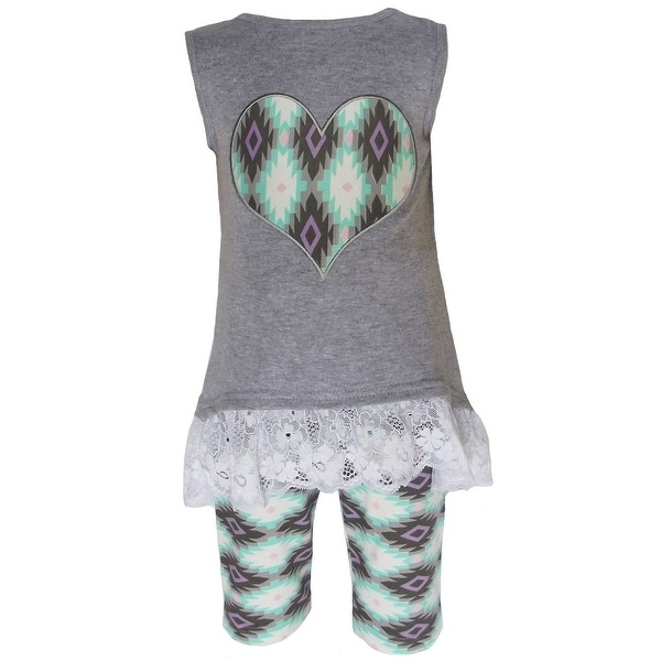 Annloren Baby Girls Gray High-Low Aztec Heart Lace Tunic Leggings Outfit 12-24M