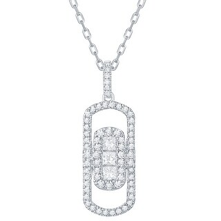 Prism Jewel 0.39 TDW G-H/SI1 & I1 Round & Princess Natural Diamond Oval Shape Necklace