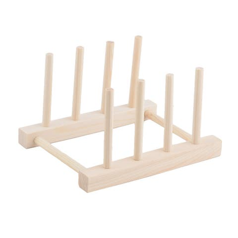 """Restaurant Wood Dish Bowl Cup Plate Holder Organizer Drying Rack - Wood Color - 7""""x5.6""""x4.2""""(L*W*H)"""