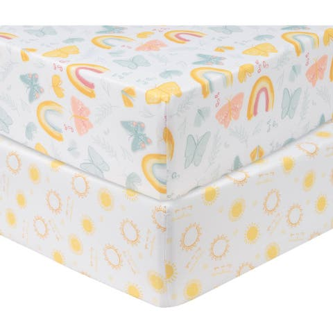 Butterfly Sun 2 Pack Microfiber Fitted Crib Sheets - 28 in x 52 in x 8-in