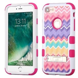 Insten Pink/ Purple Camo Wave Tuff Hard PC/ Silicone Dual Layer Hybrid Rubberized Matte Case Cover with Stand For Apple iPhone 7