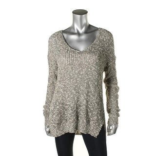 Sun & Shadow Womens Marled V-Neck Pullover Top - M