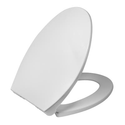 Heavy Duty High Standard Elongated Slow Close Plastic Toilet Seat Cover, Quick Button Release