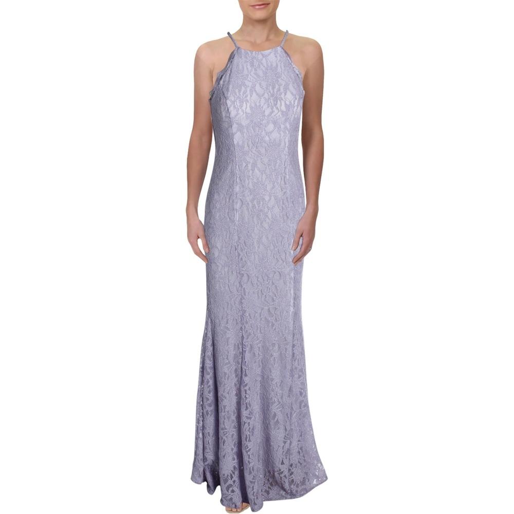 R & M Richards Womens Evening Dress Lace Halter Neck - Lavender/Ivory - 10