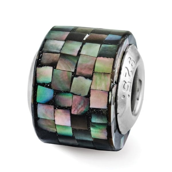Sterling Silver Reflections Black Mother of Pearl Mosaic Bead (4mm Diameter Hole)