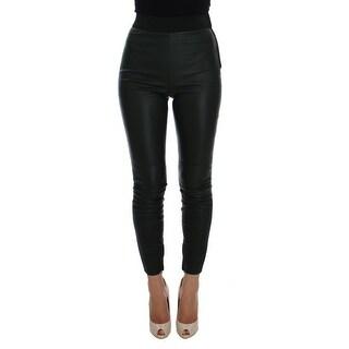 Dolce & Gabbana Dolce & Gabbana Green Leather Stretch Slim Fit Pants - it38-xs
