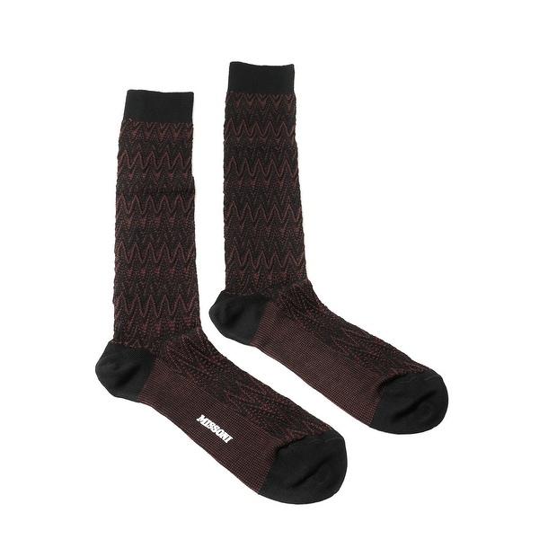 Missoni GM00CMU5239 0002 Maroon/Black Chevron Knee Length Socks - S