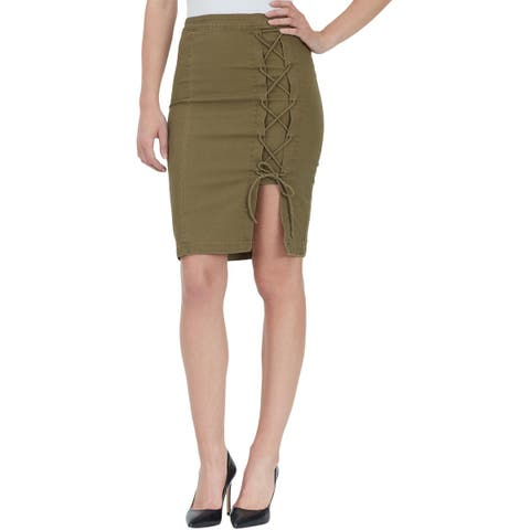 William Rast Womens Pencil Skirt Lace-Up Utility