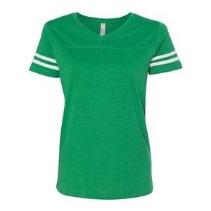 Women's Football V-Neck Fine Jersey Tee - Vintage Green/ White - XL