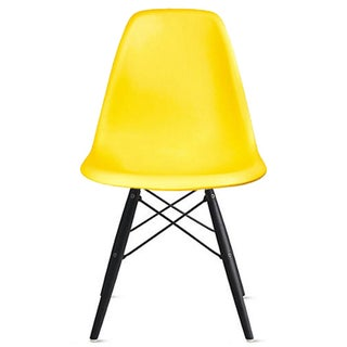 2xhome Designer Plastic Eiffel Chair Dark Black Legs Retro Dining Armless With Back Desk Accent Living Room Side Kitchen - N/A