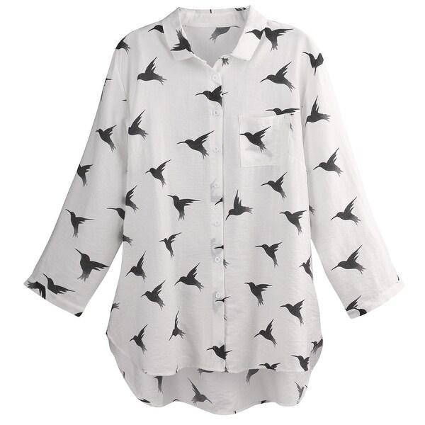 Helens Heart Women's Hummingbirds Button Front Shirt - Tunic Length Blouse