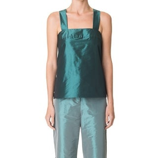 Tibi Green Womens Size 00 Square-Neck Alexa Penna Taffeta Tank Top